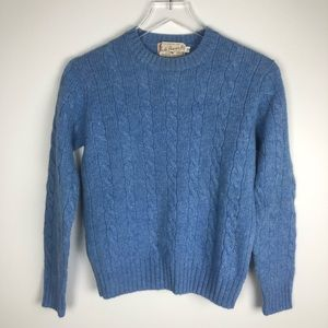 Archie Brown Wool Cable Knit Sweater Blue S VTG